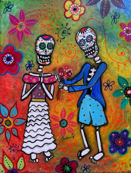 Wall Art - Painting - The Proposal Day Of The Dead by Pristine Cartera Turkus