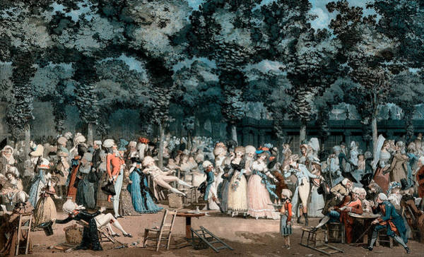 Courtiers Drawing - The Public Promenade by Philibert-Louis Debucourt