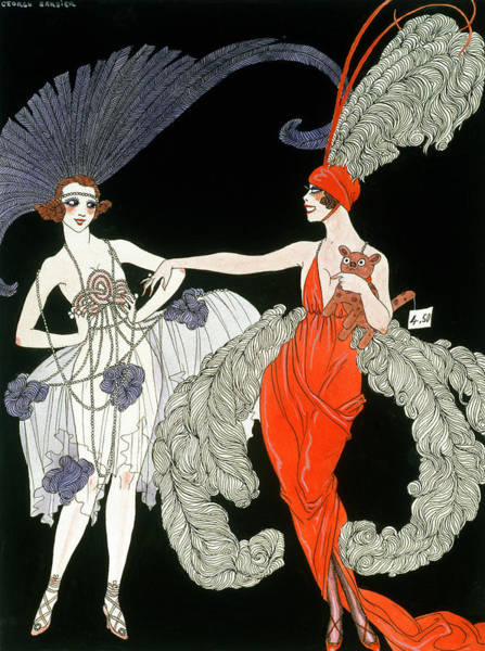 Elegant Dog Painting - The Purchase  by Georges Barbier