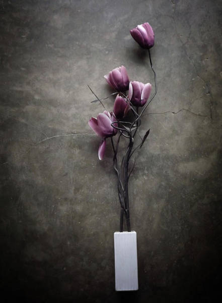 Vases Photograph - The Purple Tulip by Kahar Lagaa