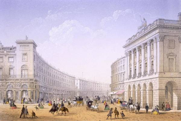 Shops Drawing - The Quadrant And Regent Street, London by Achille-Louis Martinet