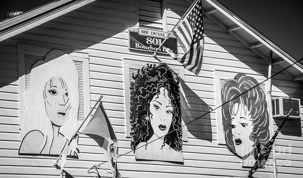 Bourbon Street Wall Art - Photograph - The Queens - 801 Bourbon Bar - Key West - Black And White by Ian Monk