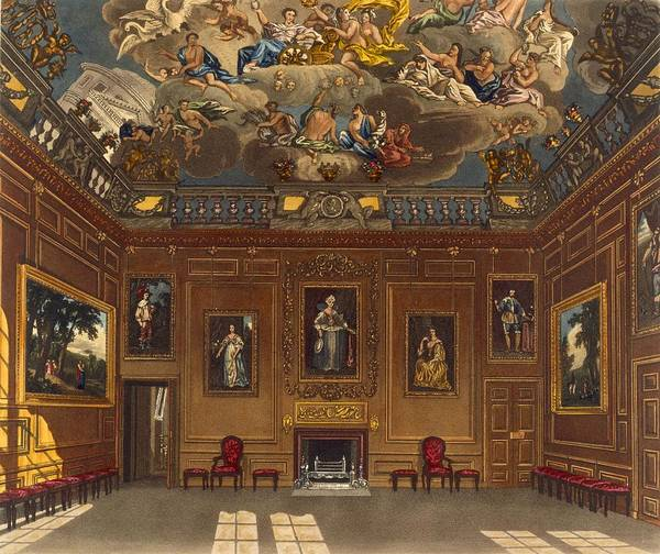 Fireplace Drawing - The Queens Audience Chamber, Windsor by Charles Wild