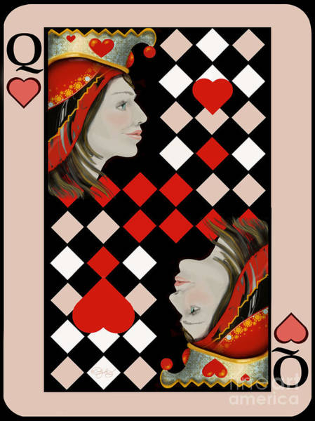 Q Digital Art - The Queen's Card In Pink by Carol Jacobs