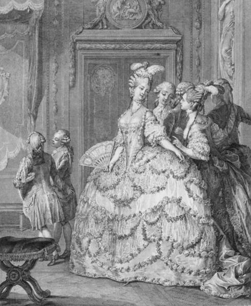 Wall Art - Painting - The Queens Lady-in-waiting, Engraved by Jean Michel the Younger Moreau