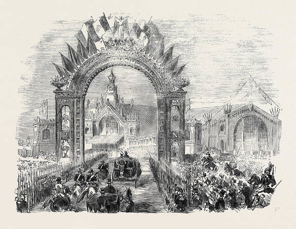 Railroad Station Drawing - The Queens Visit To Paris The Arrival Of Her Majesty by English School