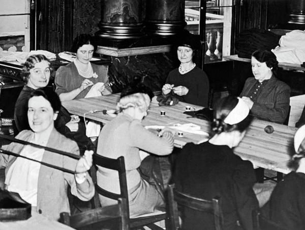 Photograph - The Queen's War Working Party by Underwood Archives