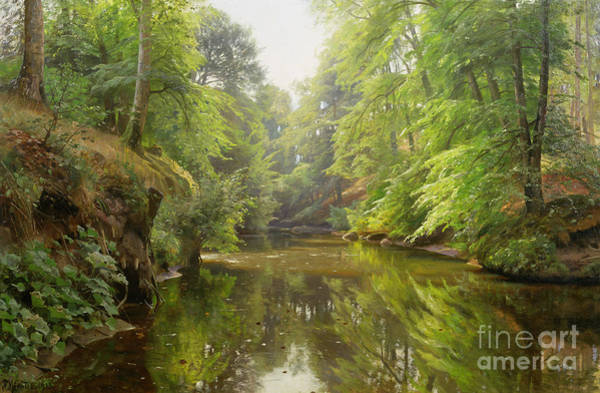 1900s Wall Art - Painting - The Quiet River by Peder Monsted