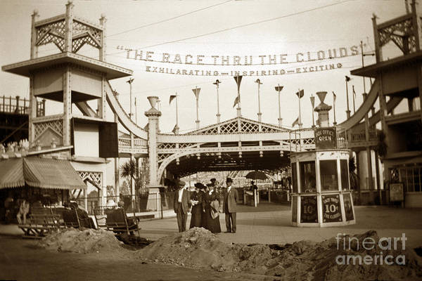 Photograph - The Racing Thru The Clouds In Venice California Circa 1912 by California Views Archives Mr Pat Hathaway Archives