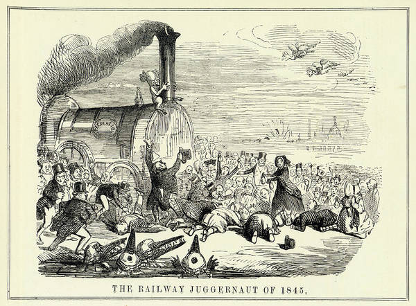 Wall Art - Drawing - The Railway Juggernaut Of 1845 Anyone by Mary Evans Picture Library