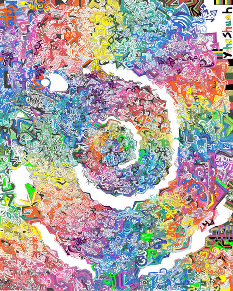 Wall Art - Drawing - The Rainbow Spiral by Phable Omsri