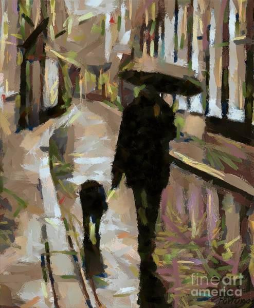 Wall Art - Painting - The Rainy Walk by Dragica  Micki Fortuna