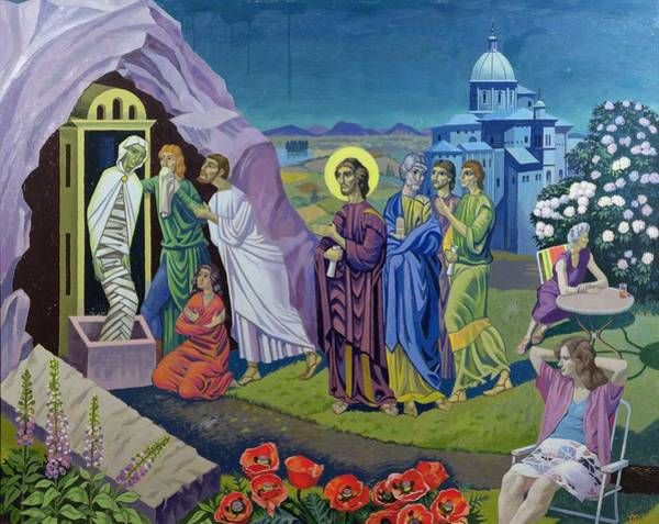 Disciple Wall Art - Painting - The Raising Of Lazarus, 1987 by Osmund Caine