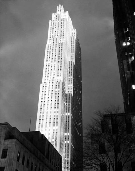 Illuminations Photograph - The Rca Building by Underwood Archives