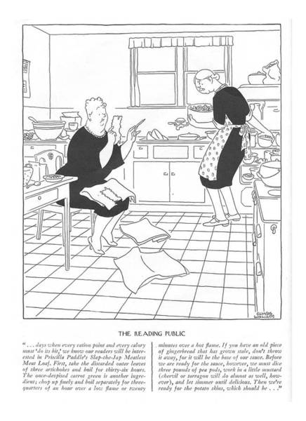 Conservation Drawing - The Reading Public . . . Days When Every Ration by Gluyas Williams