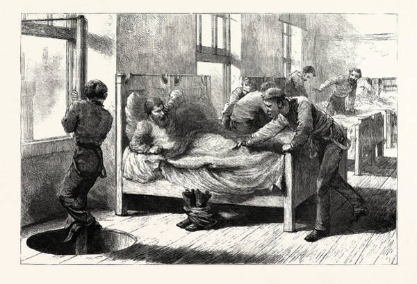 Vintage Chicago Drawing - The Recent Fire In Chicago A Scene In The Firemens Bedroom by English School