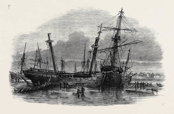 Stormy Drawing - The Recent Gale Wrecks At Hartlepool February 1861 by English School