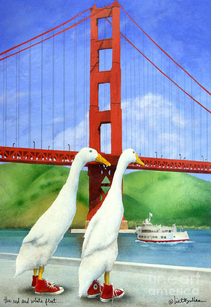 Golden Gate Painting - The Red And White Fleet... by Will Bullas