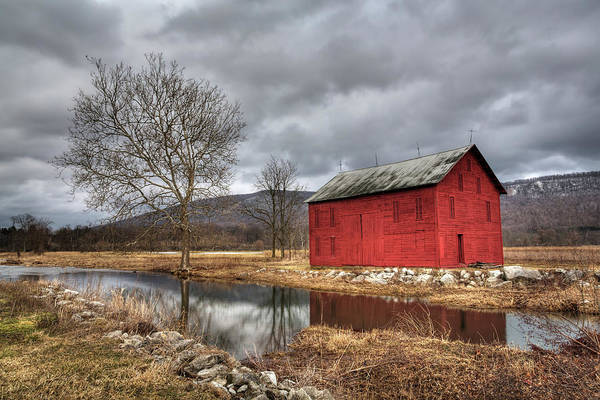 Cloudscape Photograph - The Red Barn By Stream by Julie Thurston