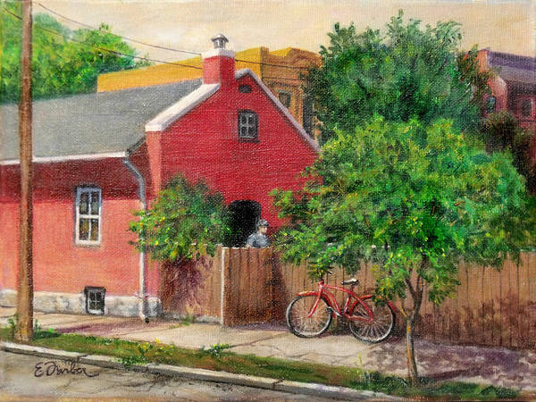 Neighborhood Painting - The Red Bicycle by Edward Farber
