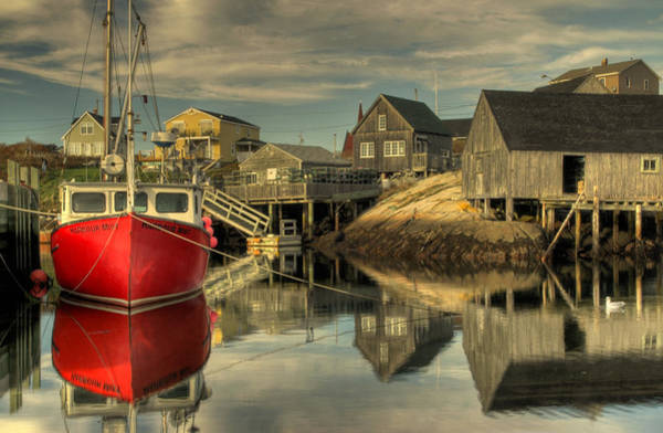 The Red Boat At Peggys Cove Art Print