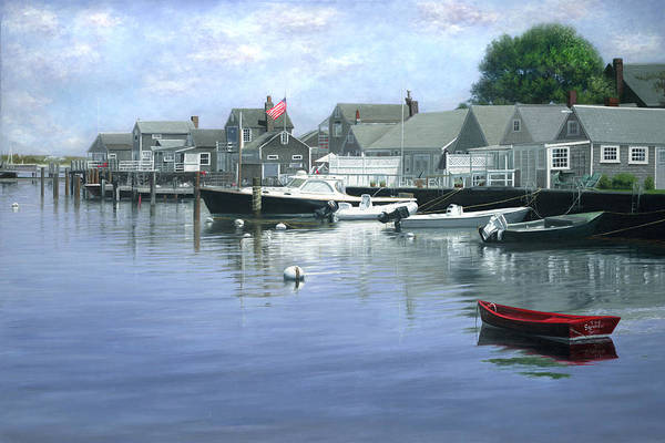 Cape Cod Painting - The Red Boat  Nantucket Harbor by Julia O'Malley-Keyes