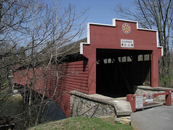 Tulpehocken Creek Photograph - The Red Bridge Or Wertz's Cover Bridge by Donna Brown