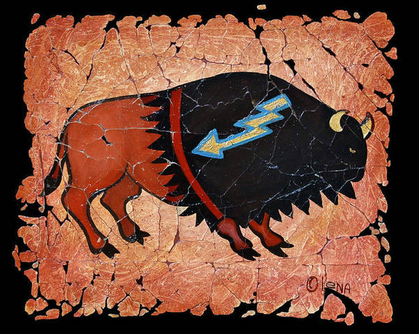 Painting - The Red  Buffalo Fresco by OLena Art Brand