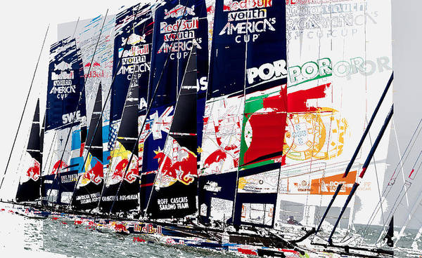 Ac45 Photograph - The Red Bull Youth Americas Cup The Start by John Mangino