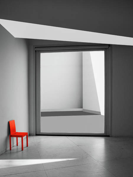 Selective Color Photograph - The Red Chair by Inge Schuster