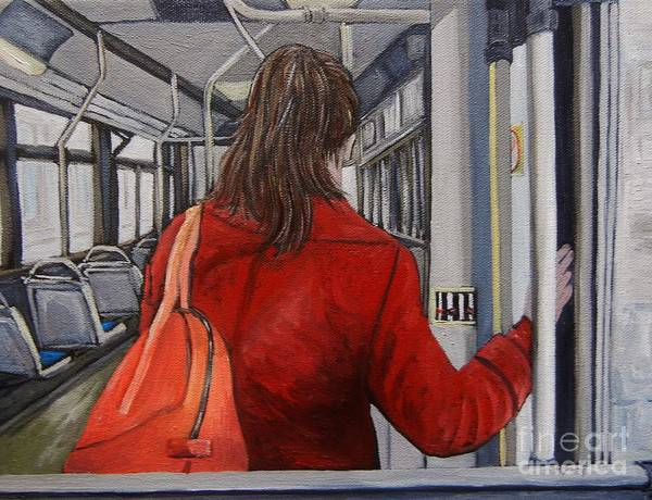Montreal Scenes Painting - The Red Coat by Reb Frost