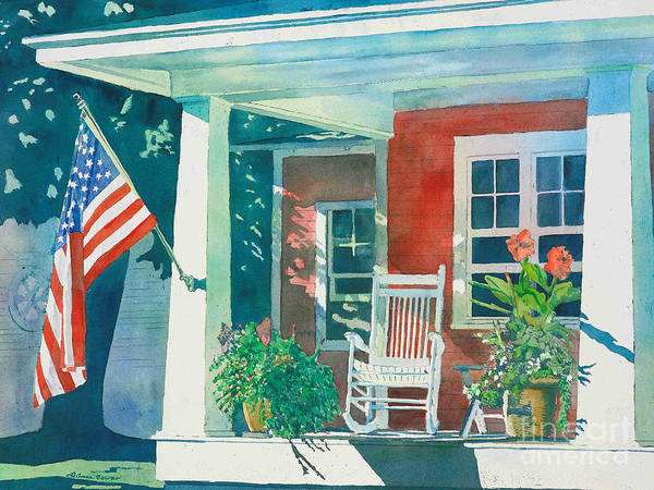 Flag Wall Art - Painting - The Red Cottage by LeAnne Sowa