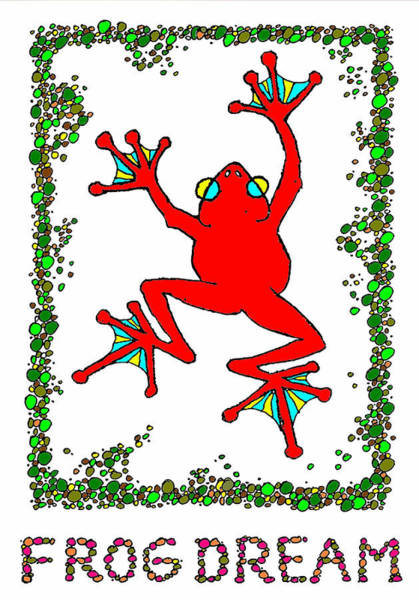 Drawing - The  Red  Frog   by Hartmut Jager