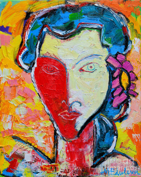 Ana Maria Edulescu - The Red Half Expressionist Girl Portrait