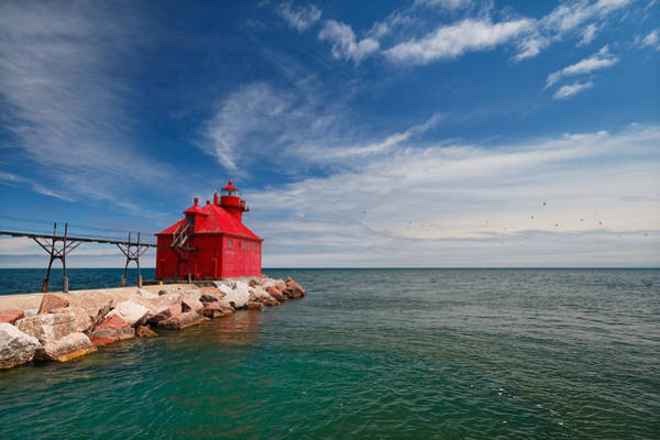 Photograph - The Red Lighthouse Of Sturgeon Bay by Lars Lentz
