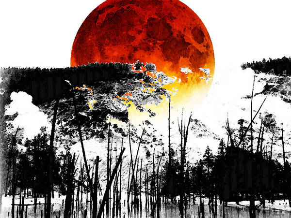 Red Moon Painting - The Red Moon - Landscape Art By Sharon Cummings by Sharon Cummings