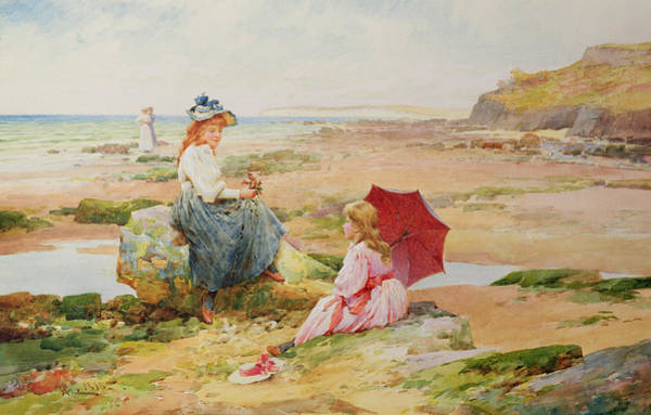 Seat Painting - The Red Parasol by Alfred Glendening Jr