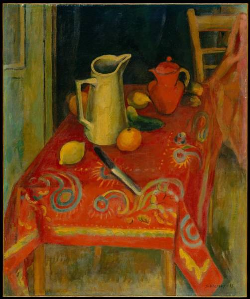 Central America Painting - The Red Tablecloth by Samuel Halpert