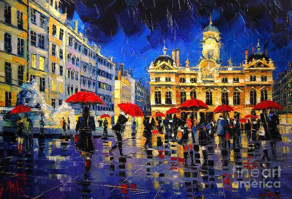 Urban Scene Painting - The Red Umbrellas Of Lyon by Mona Edulesco
