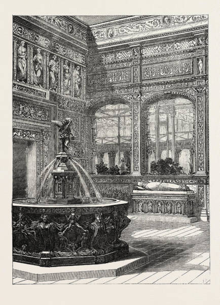 Royal Court Drawing - The Renaissance Court At The Crystal Palace Sydenham Uk 1854 by English School