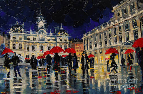 Wall Art - Painting - The Rendezvous Of Terreaux Square In Lyon by Mona Edulesco