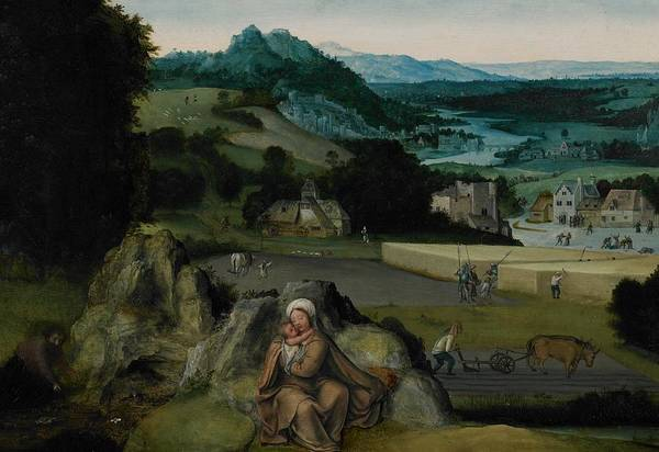 Mother Of God Painting - The Rest On The Flight Into Egypt by Joachim Patinir