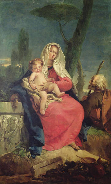 Madonna Photograph - The Rest On The Flight Into Egypt Oil On Canvas by Giovanni Battista Tiepolo
