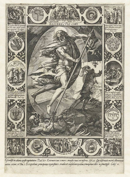 Devilish Drawing - The Resurrection Of Christ, Print Maker Hendrick Goltzius by Hendrick Goltzius And Philips Galle