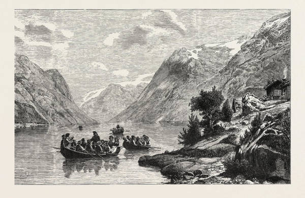 Fjord Drawing - The Return From The Wedding by Norwegian School