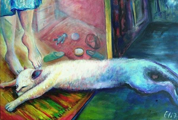 Back Door Painting - The Return Of The Prodigal Cat by Elisheva Nesis