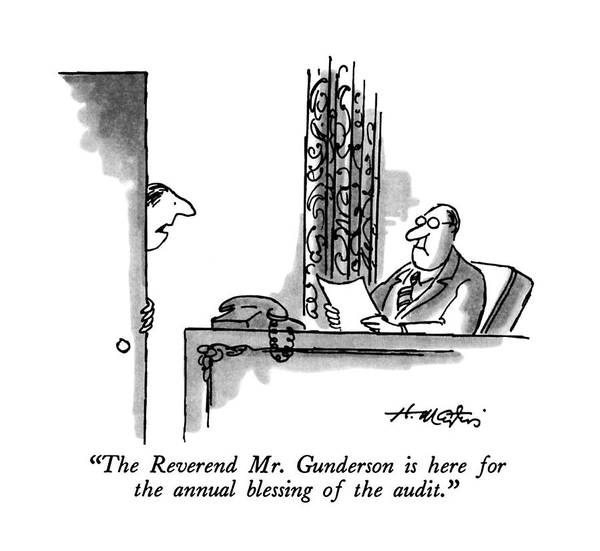 Employer Drawing - The Reverend Mr. Gunderson Is Here For The Annual by Henry Martin