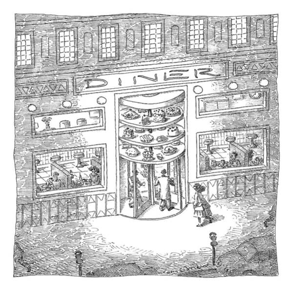 Cake Drawing - The Revolving Door Into A Diner Has A Revolving by John O'Brien