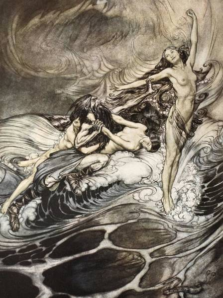 Waves Drawing - The Rhinemaidens Obtain Possession Of The Ring And Bear It Off In Triumph by Arthur Rackham