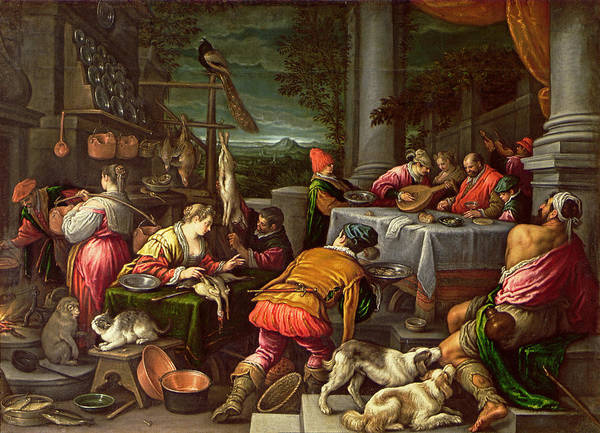 New Testament Photograph - The Rich Man And Lazarus, 1590-95 by Leandro da Ponte Bassano